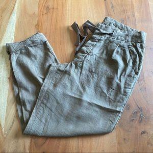 FREE PEOPLE Camel Tan Linen Blend Paper Bag Pants Size 4